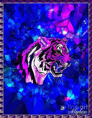 Painting - Fantacy Tiger In Cobalt by Saundra Myles