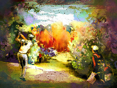 Sports Paintings - Fantagolf Madness by Miki De Goodaboom