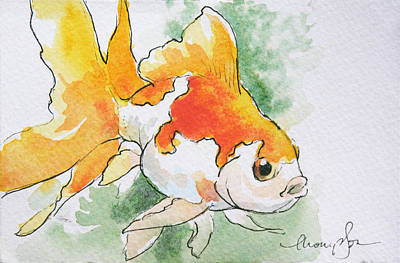 Goldfish Wall Art - Painting - Fantail Goldfish 2 by Tracie Thompson