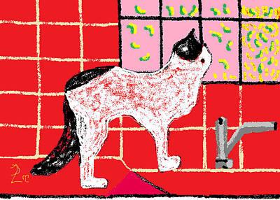 Turkish Van Cat Painting - Fantasia On The Kitchen Counter by Anita Dale Livaditis