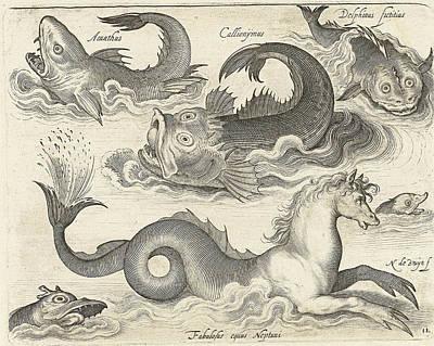 Seahorse Drawing - Fantastic Invertebrates, Including A Seahorse by Nicolaes De Bruyn