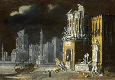 Fantastic Ruins With Saint Augustine And The Child Art Print