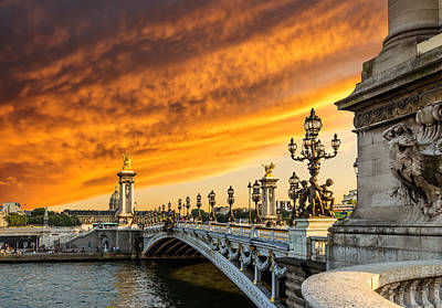 Photograph - Fantastic Sunset Over Alexandre IIi Bridge In Paris by Gurgen Bakhshetsyan