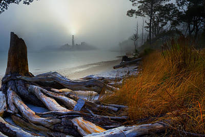 Art Print featuring the photograph Fantasy Art-sea Fog Island Lighthouse Night-twisted Roots by Eszra Tanner