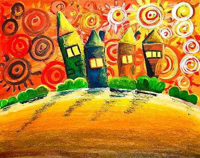 Warm Colors Painting - Fantasy Art - The Village Festival by Nirdesha Munasinghe