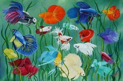 Betta Fish Painting - Fantasy Bettas by Debbie LaFrance