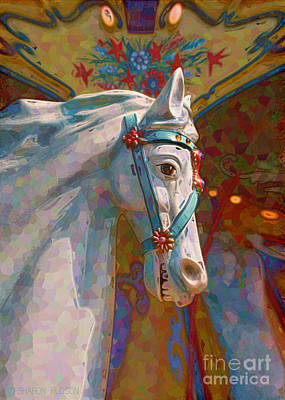 Photograph - fantasy carousel horse - Carousel Lights by Sharon Hudson
