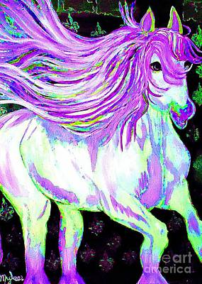 Painting - Fantasy Dream Horse Purple 1 by Saundra Myles
