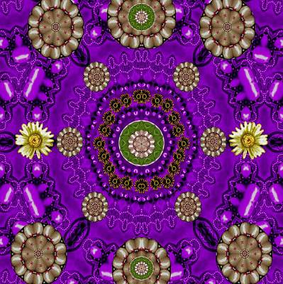 Scanography Mixed Media - Fantasy Floral In Purple by Pepita Selles