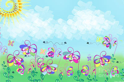 Digital Art - Fantasy Flower Garden - Childrens Digital Art by Debbie Portwood