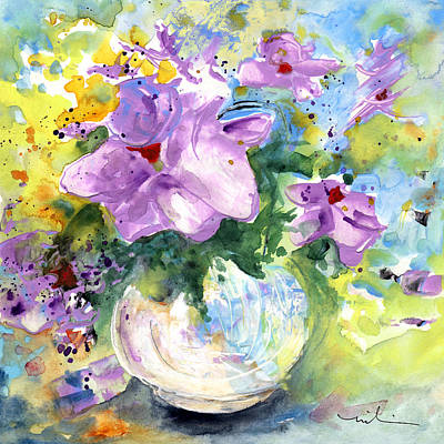Painting - Fantasy Flowers In A White Vase by Miki De Goodaboom