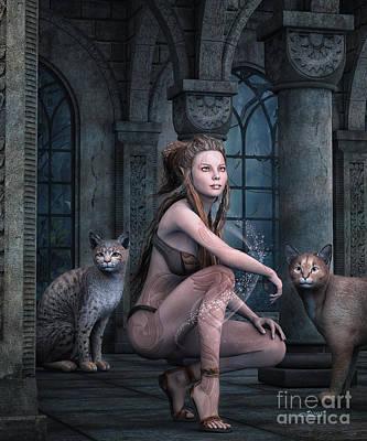Bobcats Digital Art - Fantasy Full Moon Night by Jutta Maria Pusl