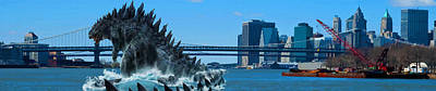 Fantasy  - Godzilla In New York City At Brooklyn Brid Original
