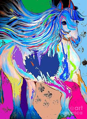 Painting - Fantasy Horse Bold Colors 1 Abstract by Saundra Myles