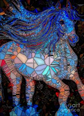 Painting - Fantasy Horse Mosaic Blue by Saundra Myles
