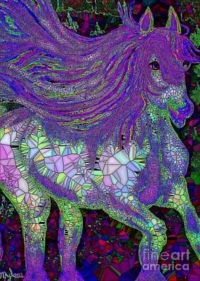 Painting - Fantasy Horse Purple Mosaic by Saundra Myles