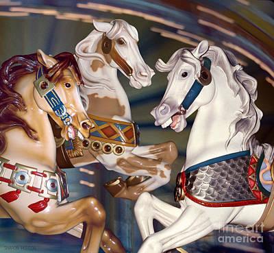 Photograph - fantasy horses at a fair - Trifecta by Sharon Hudson