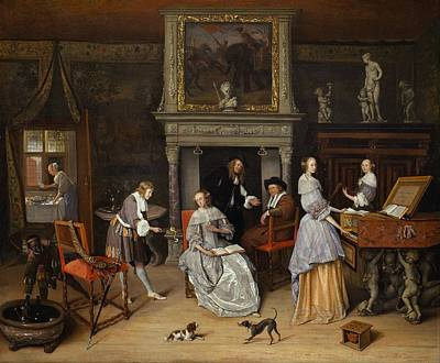 Steen Painting - Fantasy Interior With Jan Steen And The Family Of Gerrit Schouten by Jan Steen