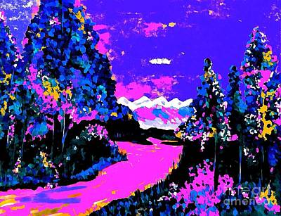 Painting - Fantasy Lake In Blues And Purple  by Saundra Myles