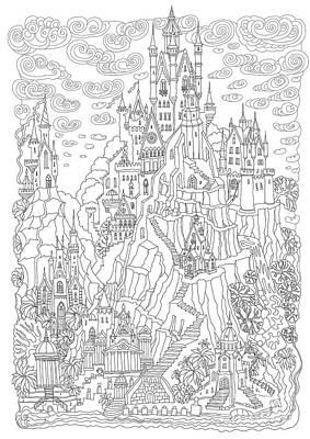 Door Wall Art - Digital Art - Fantasy Landscape. Fairy Tale Castle On by L. Kramer