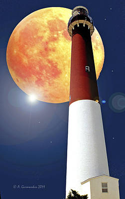 Fantasy Lighthouse And Full Moon Poster Image Art Print
