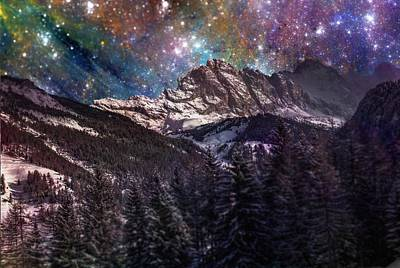 Outer Space Mixed Media - Fantasy Mountain Landscape by Martin Capek