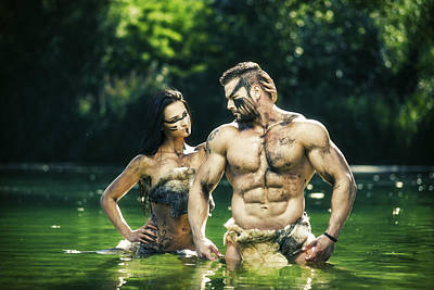 Fantasy Muscular Warrior Lovers Standing In A Summer Water By Digihelion