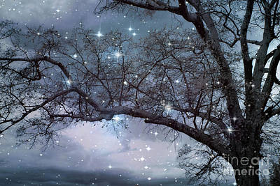 Fantasy Nature Blue Starry Surreal Gothic Fantasy Blue Trees Nature Starry Night Art Print by Kathy Fornal
