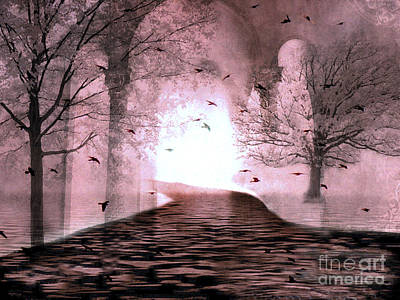 Fantasy Nature Trees - Haunting Surreal Path Trees And Birds Art Print by Kathy Fornal