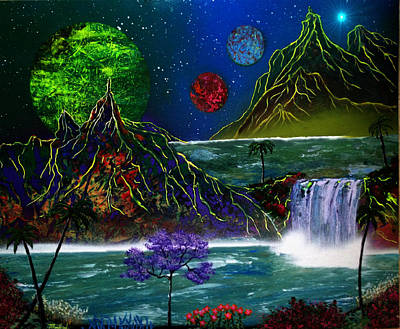 Fantasy Planets Art Print by Michael Rucker