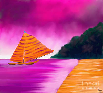 Painting - Fantasy Sailing by Anita Lewis