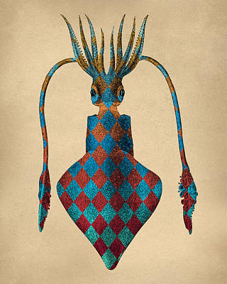 Fantasy Squid Vintage Illustration Print by Flo Karp