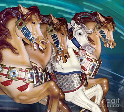 Photograph - fantasy stallions at a fair - Almost A Team by Sharon Hudson