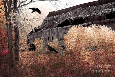 Vintage Barns Photograph - Fantasy Surreal Gothic Old Barn Scene With Birds And Ravens by Kathy Fornal