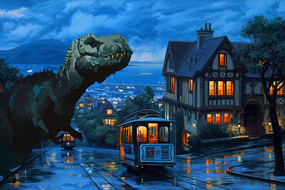 Tower Of London Digital Art - Fantasy  - T Rex Down Town by Don Kuing