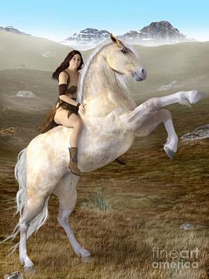 Fantasy Woman On Rearing Horse Art Print