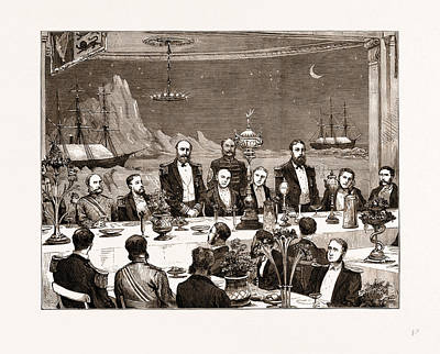 Banquet Drawing - Farewell Banquet Given To Captain Nares And His Fellow by Litz Collection