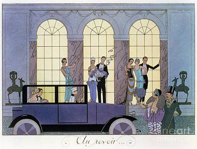 Evening Dress Painting - Farewell by Georges Barbier