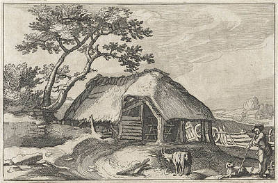 Bos Bos Drawing - Farm And Shepherd With Dog And Goat by Claes Jansz. Visscher (ii) And Abraham Bloemaert And Bo?tius Adamsz. Bolswert