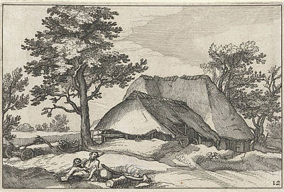 Herding Dog Drawing - Farm And Shepherd With His Dog by Claes Jansz. Visscher (ii) And Abraham Bloemaert And Bo?tius Adamsz. Bolswert