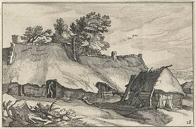 Shed Drawing - Farm And Small Barn, Claes Jansz. Visscher II by Claes Jansz. Visscher (ii) And Abraham Bloemaert And Bo?tius Adamsz. Bolswert