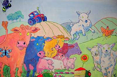 Painting - Farm Animals Cartoon by Mike Jory