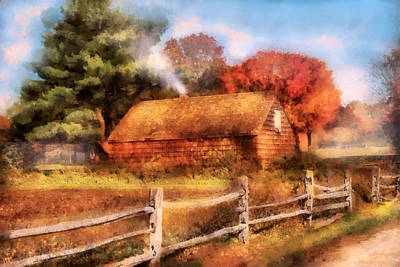 Digital Art - Farm - Barn - Our Cabin by Mike Savad