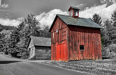 Farm - Barn - Weathered Red Barn Art Print by Paul Ward