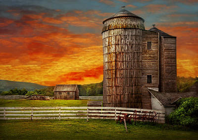 Farm - Barn - Welcome To The Farm  Art Print by Mike Savad