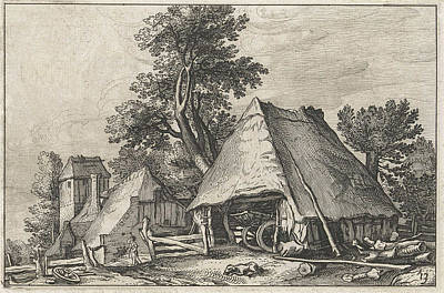 Shed Drawing - Farm Between The Trees by Claes Jansz. Visscher Ii And Abraham Bloemaert And Bo?tius Adamsz. Bolswert