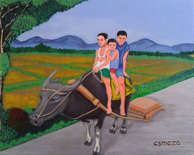 Rice Field Painting - Farm Boys by Cyril Maza