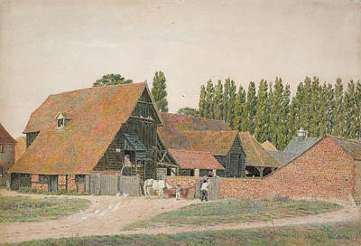 Barn Drawing - Farm Buildings, Dorchester, Oxfordshire by George Price Boyce