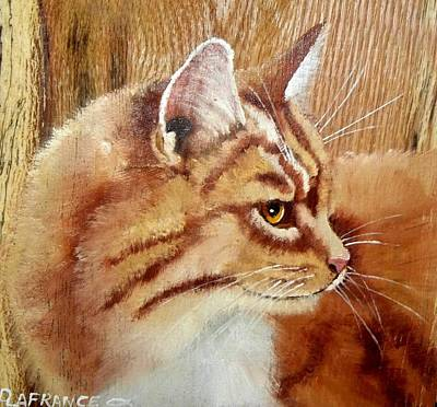 Farm Cat On Rustic Wood Art Print by Debbie LaFrance