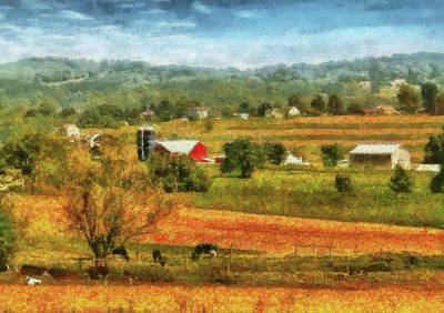 Farm - Cow - Cows Grazing Art Print by Mike Savad